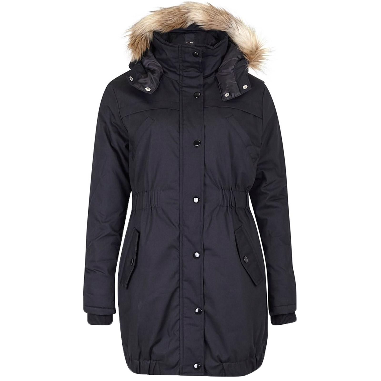 winterjacke parka jacke dunkelblau ichi damen fell jacke mantel warm kapuze step ebay. Black Bedroom Furniture Sets. Home Design Ideas