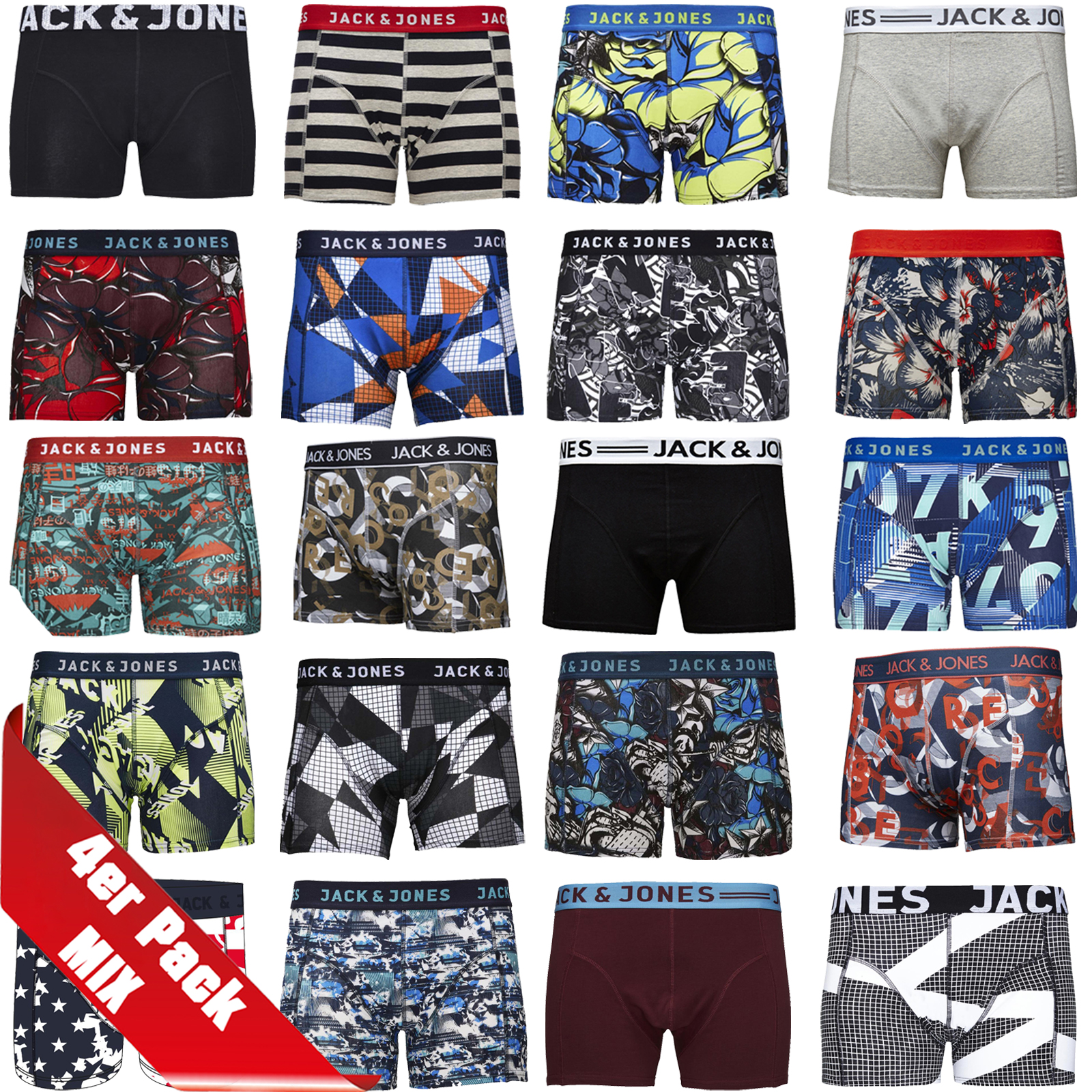 jack jones boxershorts 4er pack mix trunks boxer short unterhose s m. Black Bedroom Furniture Sets. Home Design Ideas